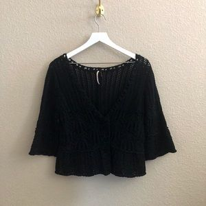 Free People Bell Sleeve Short Open Knit Sweater
